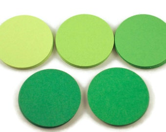 50 Paper Die Cut Circles  1.5 inch Circles  in Fresh Greens