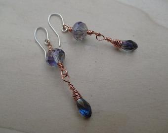 Blue Iridescent Swarovski Crystal Earrings