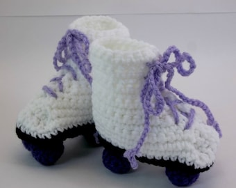 Crochet Baby Booties White Roller Skates Purple Wheels 6 months READY TO SHIP