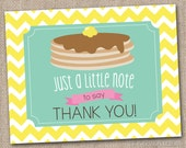 Pancake Party Printable Thank You Card Design Pancake Graphic and Yellow Chevron Stripes INSTANT DOWNLOAD