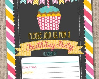 Fill In Birthday Party Invitations Printable Cupcake & Stripes Birthday Party Blank Invitation Digital Design INSTANT DOWNLOAD