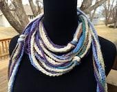 Crochet Strand Scarf - Blue Green Lavender