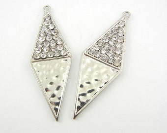 Pair of Diamond Shaped Drop Charms Hammered and Rhinestones