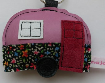 Recycled upcycled vintage pink leather caravan applique keyring keychain