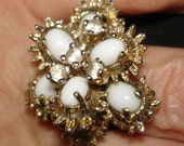 vintage STER-SHANK faux diamond and milk glass anemone cluster sterling ring