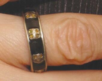SALE vintage black inlay silver ring