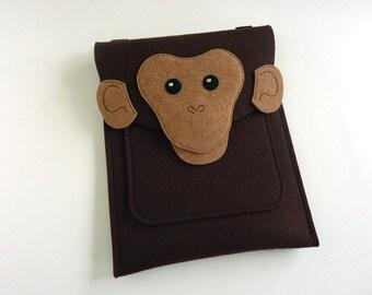 Monkey iPad Air / 2 / 3 / 4 case // Chimp sleeve or purse // Animal felt case