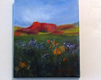 Art Colorado Landscape Mountain Flowers Original Painting in Oil