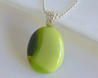 Layered Green and Yellow Fused Glass Pendant