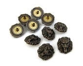 Lions Head Studs Vintage 80s Brass Button Cast Metal lot of 10