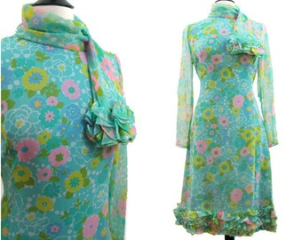 60s Dress Vintage Scarf Neck Ruffled Rayon Chiffon Cocktail Party M