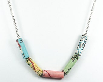 Paper Bead Jewelry- Minimal Necklace, Upcycled Map Necklace, Map Jewelry, Pastel Paper Bead Necklace, Paper Jewelry, Travel Gift