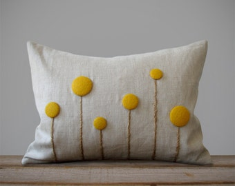 Yellow Billy Ball Flower Pillow in Natural Linen by JillianReneDecor Craspedia Billy Button Botanical Home Decor Spring Wedding Marigold