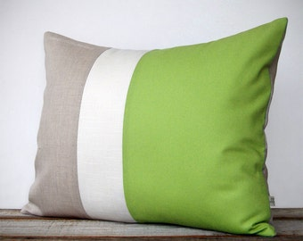 16x20 Color Block Pillow Cover in Lime, Cream and Natural Linen by JillianReneDecor, Spring Home Decor, Pantone 2017, Apple Green - Custom