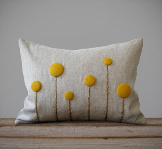 Yellow Billy Ball Flower Pillow in Natural Linen by JillianReneDecor Craspedia Billy Button Botanical Home Decor Fall Wedding Marigold