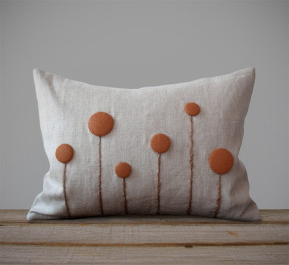 Rust Billy Ball Flower Pillow in Natural Linen by JillianReneDecor Billy Button Craspedia Botanical Fall Home Decor Copper Burnt Orange