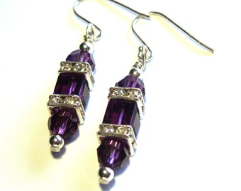 Purple Amethyst Swarovski Crystal Coach Lantern Earrings
