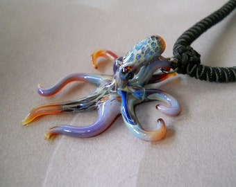 Ocean  Octopus Pendant on Black adjustable cord