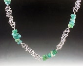 Rough Apatite Nugget and Sterling Silver Necklace, layering necklace, long necklace