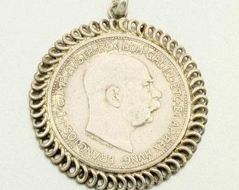 Antique Silver Coin Pendant, Austria 2 Corona, 1912, Franz Joseph I, Austrian Coin, Antique Coin, Coin Pendant for Men, Mens Coin Pendant