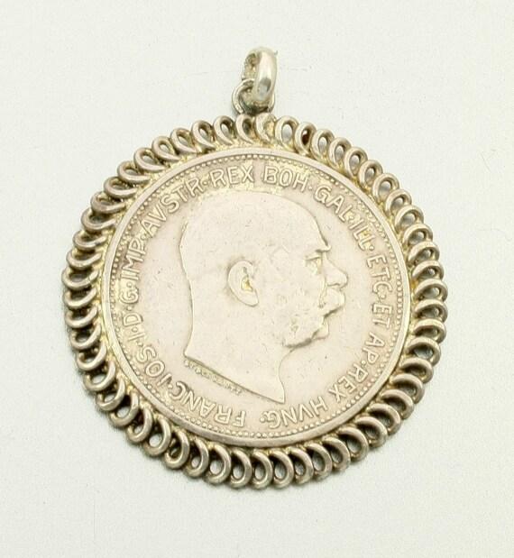 Antique Silver Coin Pendant, Austria 2 Corona, 1912, Franz Joseph I