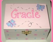 Musical jewelry box with ballerina, personalized, pink, purple and light blue design with butterflies, flowers, dots