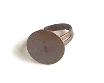 50 pcs Copper Plated Brass with 16 mm pad adjustable ring base-20x16mm (900-012CP)
