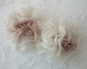2.5 inch Organza Fabric Hand Dyed TAUPE Rose Flower Applique Bridal Christening Couture Hat
