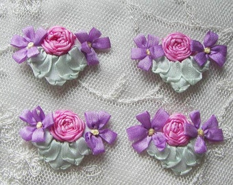 4pc Vintage Chic Rose PINK LILAC Silk Ribbon Embroidered Daisy Spider Rose Flower Applique Christening Gown Baby Doll Hair Bow