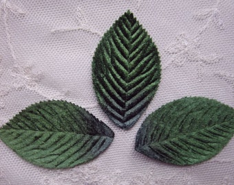 12 pc Green VELVET Embossed LEAF Leaves Applique Fairy Bow Scrapbooking Card Making Bridal Hair Accessory