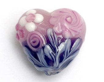 Light Pink Flower w/Purple Heart Focal Bead - Handmade Glass Lampwork Bead 11812505