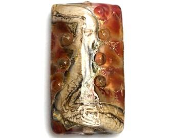 Transparent Red w/Silver Foil Kalera Focal Bead 11815103 - Handmade Glass Lampwork Bead