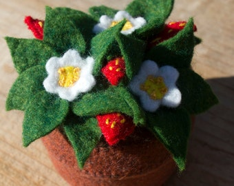 Large Strawberry Flower Pot Pincushion- felted wool