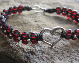 Ruby Czech Glass Macrame Bracelet with Rustic Heart Charm Valentines gift