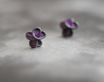Royal Purple Black Orchid Forget Me Not Flower Post Earrings, 4th 1st Anniversary Paper Gift Jewelry Best Friend Long Distance Girlfriend