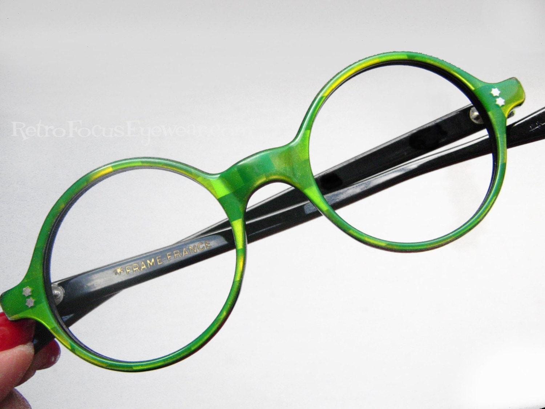 French Round Eyeglass Frames Vintage Eyewear Green Checkered