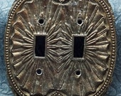 Light Switch Cover Brass 1966 American Tack and Hardware Co Part No 35TT Vintage Double Switch Plate FREE SHIPPING 9514002