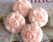 """Fabric Buttons, Floral Buttons, Fridge Magnets, Pink Lace Buttons, Flower Buttons, Wedding Buttons, Wedding Magnets, Flat Back,1.5 """" 4's"""