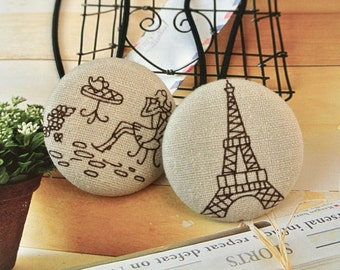 Large Tour Eiffel Paris French Button Hair Ponytail Holder Tie, French Girl Hair Accessories, Large Beige Ponytail Holder