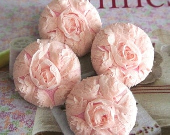 Handmade Victorian Large Wedding Warm Pink Floral Flower Lace Fabric Covered Buttons Pink Flower Wedding Fridge Magnets, 1.5 Inches 4's