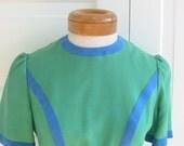 Vintage Woman Dress Designer Green Blue Swede Posh Short Sleeve Size 6