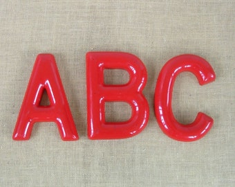 Vintage Red Letters Plastic A B C Alphabet Nursery Decor Sign