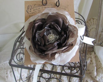 Wedding Wrist Corsage With Rhinestones and Pearls by Burlap And Bling Design Studio