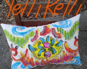 SALE Ikat Handpainted Pillow Ready to Ship