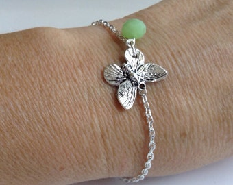 Butterfly Charm Bracelet with Jade Crystal