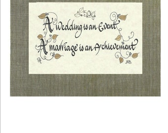 Calligraphy Wedding Anniversary 25 and 50 Years Personalize with names and dates