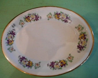 Vintage Oval Porcelain Platter Pansies Pansy flowers around edge