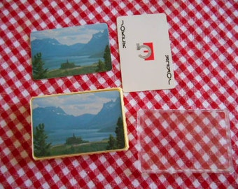 Vintage Complete Set of Playing Cards in hard plastic case Mountains Church Water Trees picture