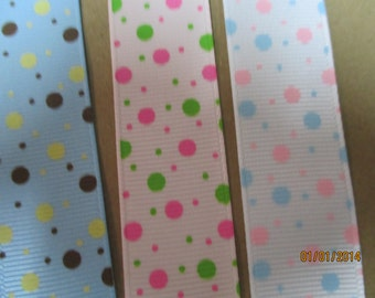 White , Pink or Blue Backgound With Varying Size Bubbles  7/8 Inch Grosgrain Ribbon