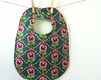 Green Floral Baby Bib - Toddler Baby Bib with Snaps